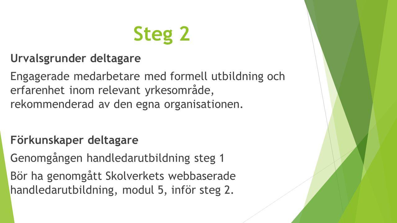 Steg 2 Urvalsgrunder deltagare Engagerade medarbetare med formell utbildning och erfarenhet inom relevant yrkesområde, rekommenderad av den egna organ