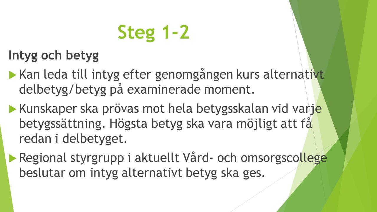 Steg 1-2 Intyg och betyg  Kan leda till intyg efter genomgången kurs alternativt delbetyg/betyg på examinerade moment.  Kunskaper ska prövas mot hel