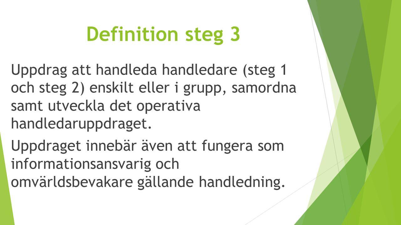 Definition steg 3 Uppdrag att handleda handledare (steg 1 och steg 2) enskilt eller i grupp, samordna samt utveckla det operativa handledaruppdraget.