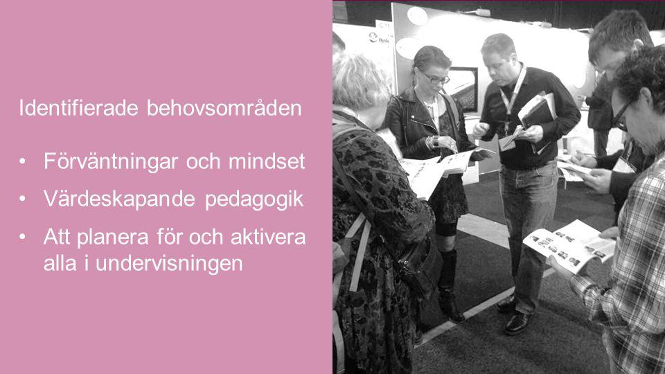 Identifierade behovsområden Förväntningar och mindset Värdeskapande pedagogik Att planera för och aktivera alla i undervisningen