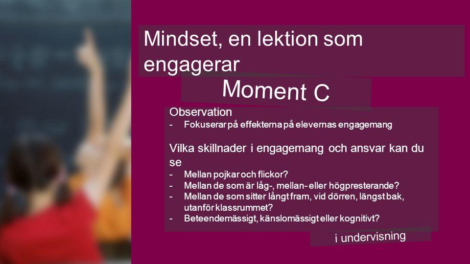 Moment C Mindset, en lektion som engagerar i undervisning Observation -Fokuserar på effekterna på elevernas engagemang Vilka skillnader i engagemang och ansvar kan du se -Mellan pojkar och flickor.