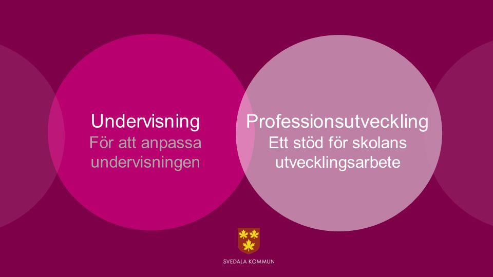Undervisning För att anpassa undervisningen Professionsutveckling Ett stöd för skolans utvecklingsarbete