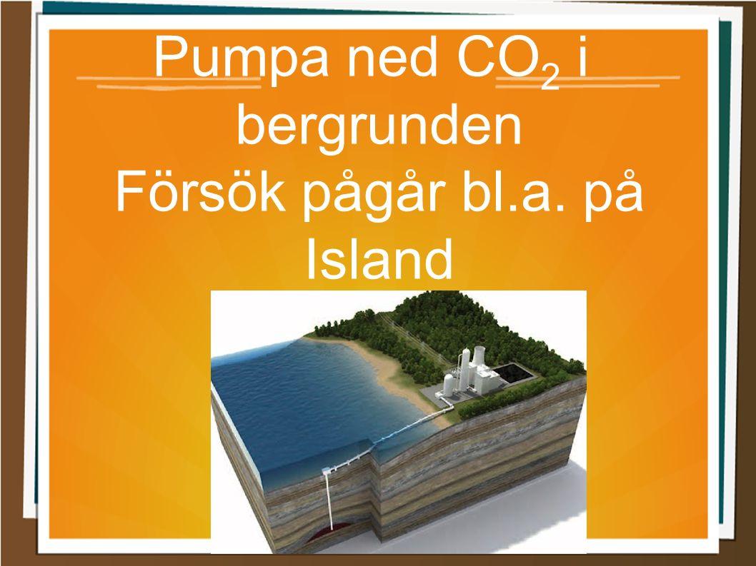 Pumpa ned CO 2 i bergrunden Försök pågår bl.a. på Island