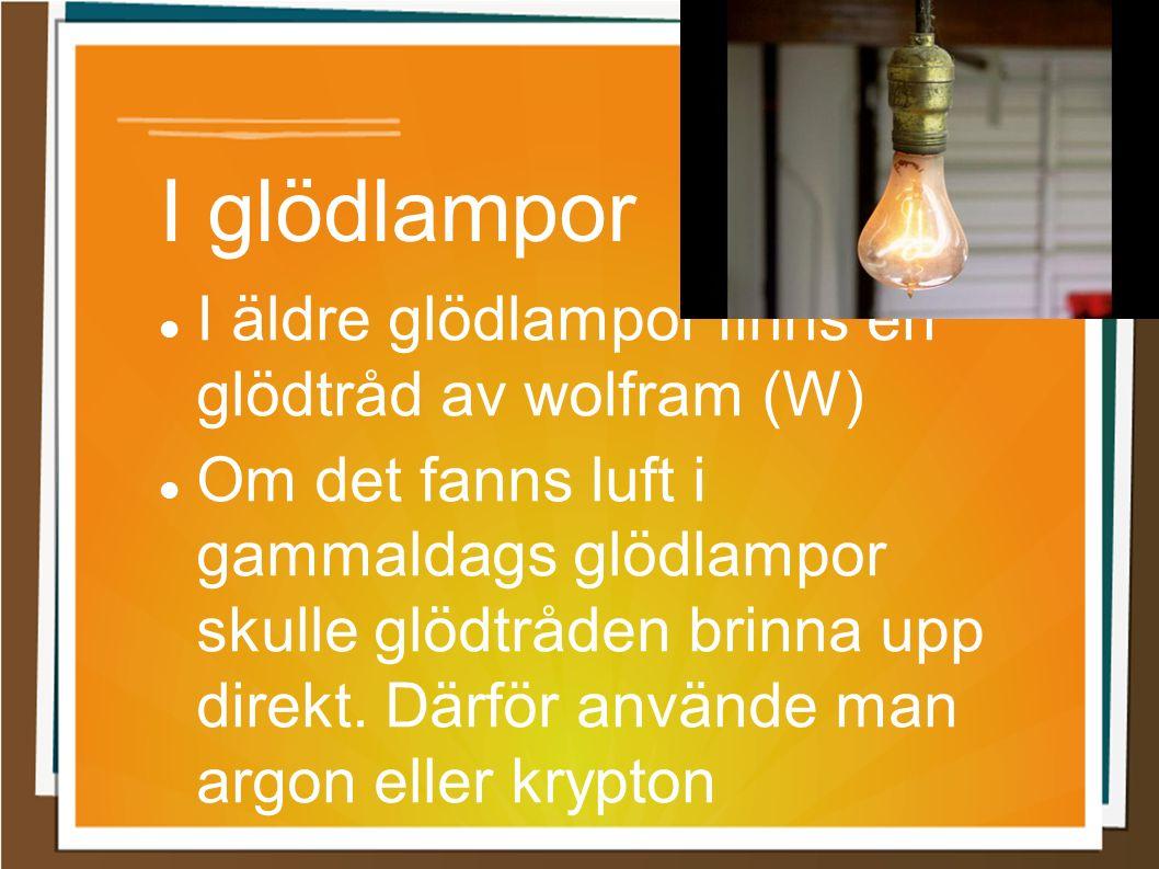I glödlampor I äldre glödlampor finns en glödtråd av wolfram (W) Om det fanns luft i gammaldags glödlampor skulle glödtråden brinna upp direkt. Därför