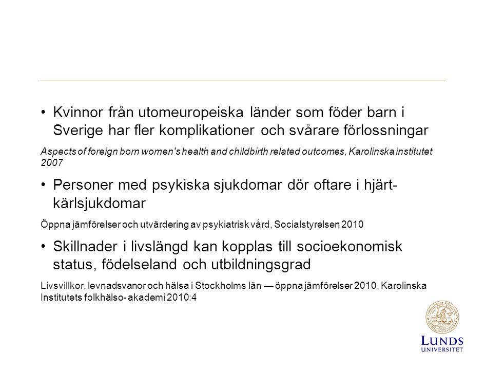 Kvinnor från utomeuropeiska länder som föder barn i Sverige har fler komplikationer och svårare förlossningar Aspects of foreign born women s health and childbirth related outcomes, Karolinska institutet 2007 Personer med psykiska sjukdomar dör oftare i hjärt- kärlsjukdomar Öppna jämförelser och utvärdering av psykiatrisk vård, Socialstyrelsen 2010 Skillnader i livslängd kan kopplas till socioekonomisk status, födelseland och utbildningsgrad Livsvillkor, levnadsvanor och hälsa i Stockholms län — öppna jämförelser 2010, Karolinska Institutets folkhälso- akademi 2010:4