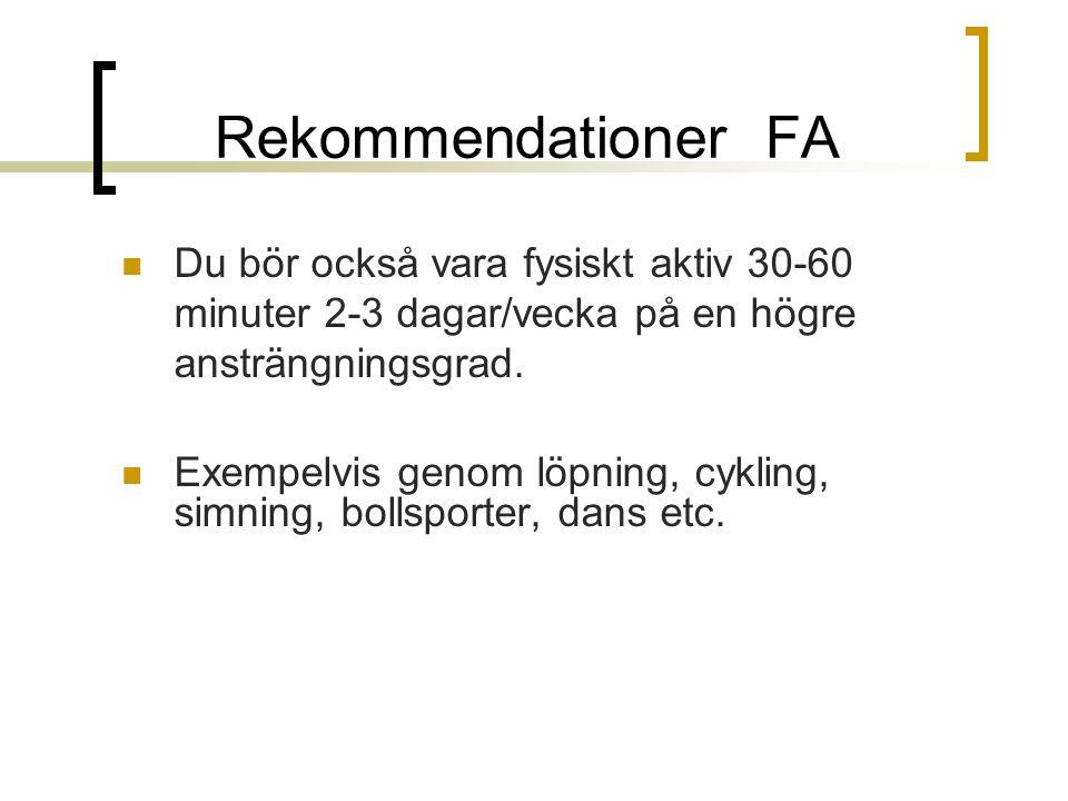 Rekommendationer FA Du bör också vara fysiskt aktiv 30-60 minuter 2-3 dagar/vecka på en högre ansträngningsgrad.