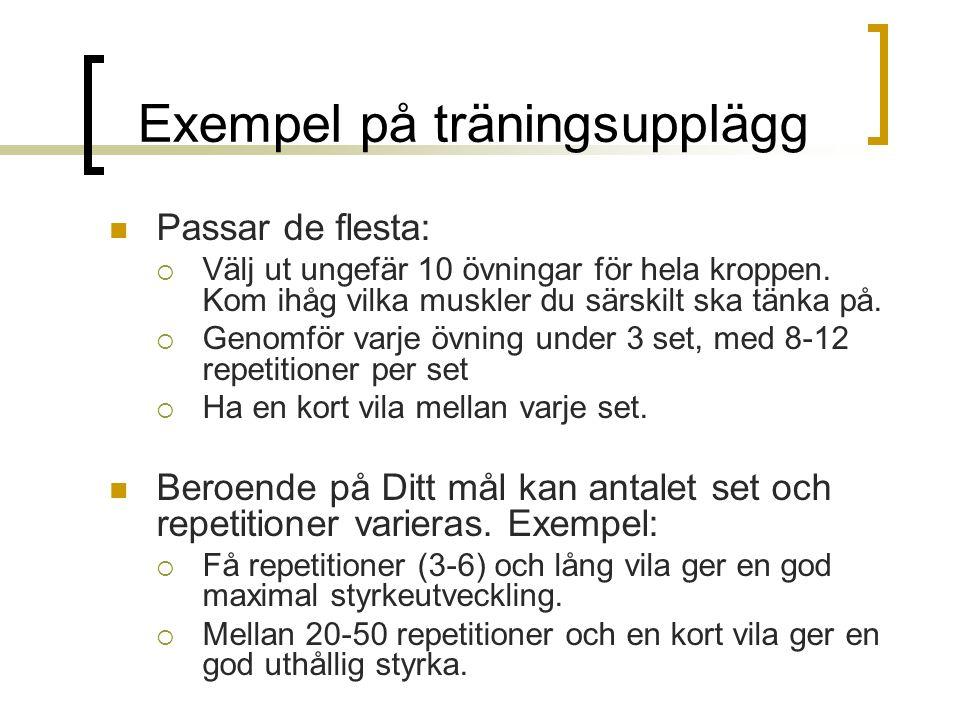 Exempel på träningsupplägg Passar de flesta:  Välj ut ungefär 10 övningar för hela kroppen.