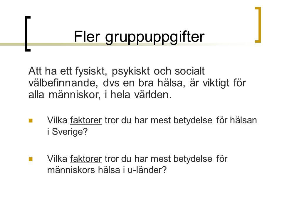 Fler gruppuppgifter Vilka faktorer tror du har mest betydelse för hälsan i Sverige? Vilka faktorer tror du har mest betydelse för människors hälsa i u