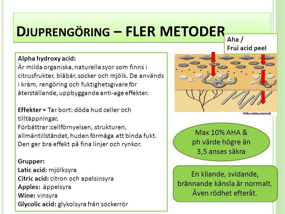 D JUPRENGÖRING – FLER METODER Alpha hydroxy acid: Är milda organiska, naturella syor som finns i citrusfrukter, blåbär, socker och mjölk.