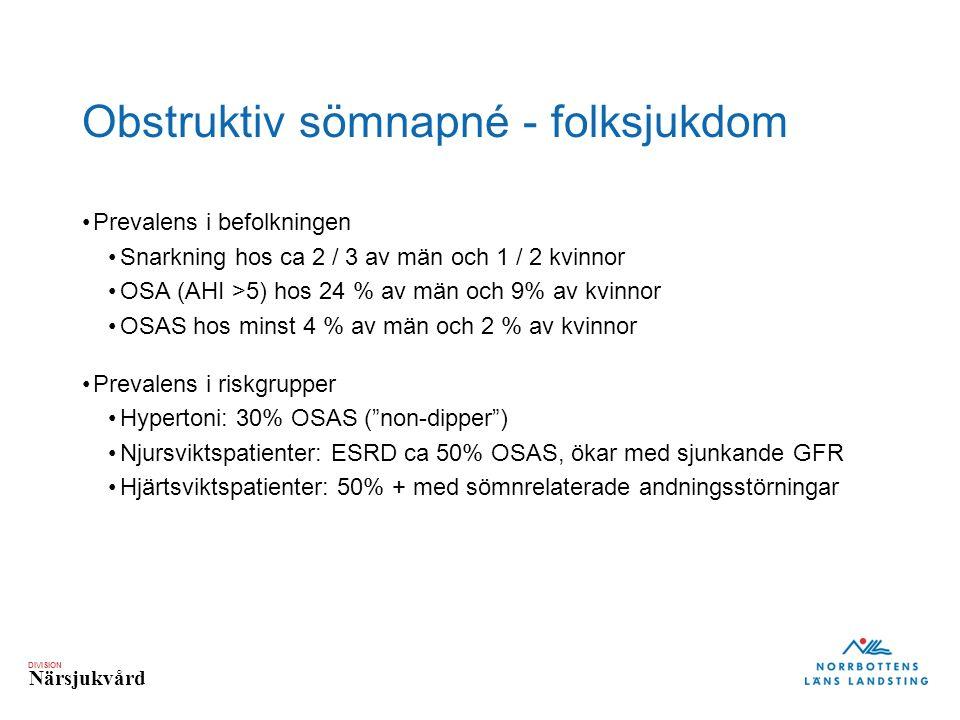 DIVISION Närsjukvård Obstruktiv sömnapné - folksjukdom Prevalens i befolkningen Snarkning hos ca 2 / 3 av män och 1 / 2 kvinnor OSA (AHI >5) hos 24 % av män och 9% av kvinnor OSAS hos minst 4 % av män och 2 % av kvinnor Prevalens i riskgrupper Hypertoni: 30% OSAS ( non-dipper ) Njursviktspatienter: ESRD ca 50% OSAS, ökar med sjunkande GFR Hjärtsviktspatienter: 50% + med sömnrelaterade andningsstörningar Oldenburg O, Circ J 2012