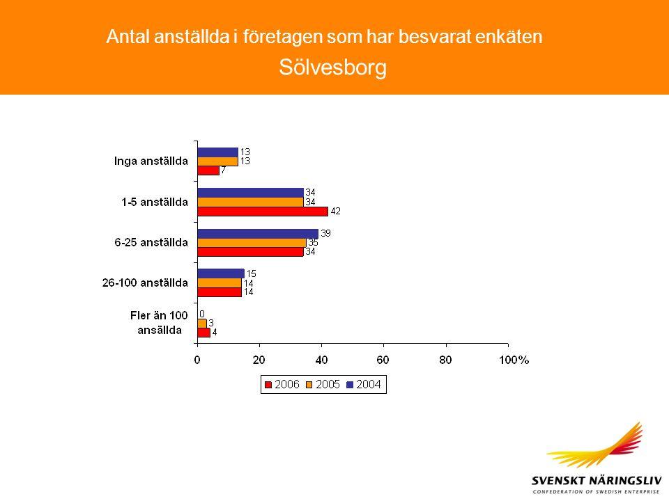Antal anställda i företagen som har besvarat enkäten Sölvesborg