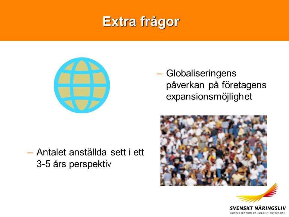 Extra frågor –Globaliseringens påverkan på företagens expansionsmöjlighet –Antalet anställda sett i ett 3-5 års perspekti v