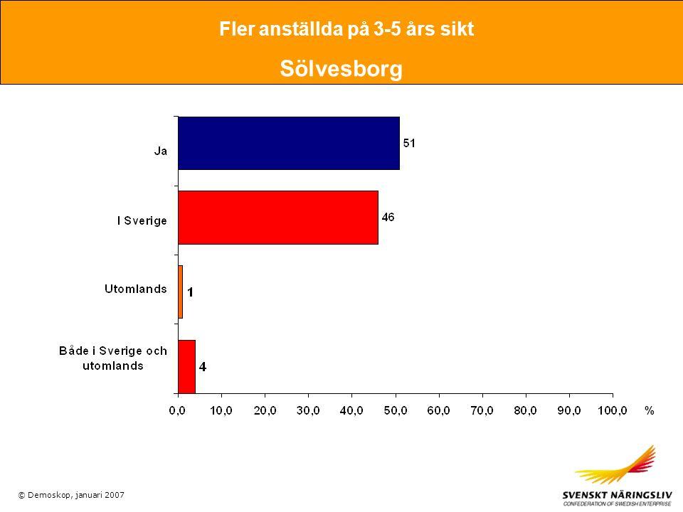 © Demoskop, januari 2007 Fler anställda på 3-5 års sikt Sölvesborg %