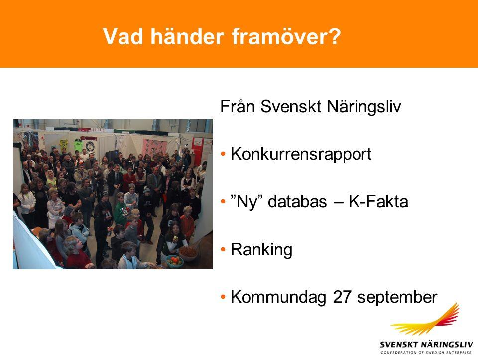 """Vad händer framöver? Från Svenskt Näringsliv Konkurrensrapport """"Ny"""" databas – K-Fakta Ranking Kommundag 27 september"""