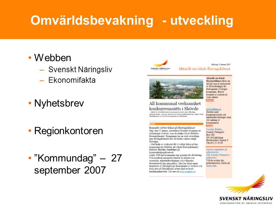 """Omvärldsbevakning - utveckling Webben –Svenskt Näringsliv –Ekonomifakta Nyhetsbrev Regionkontoren """"Kommundag"""" – 27 september 2007"""