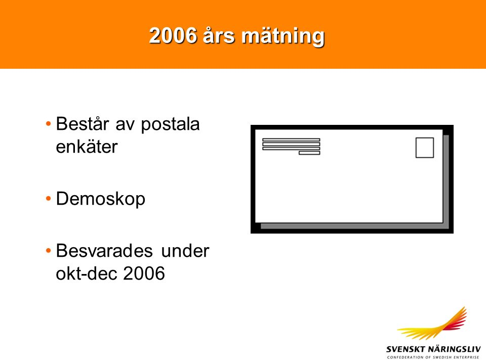 2006 års mätning Består av postala enkäter Demoskop Besvarades under okt-dec 2006
