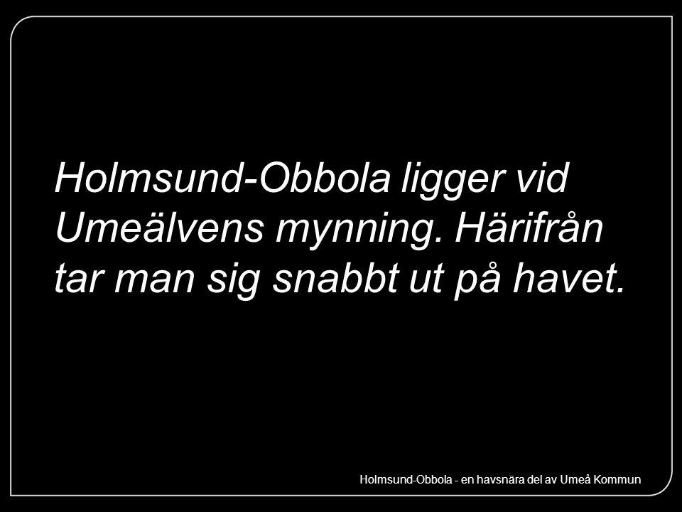Holmsund-Obbola ligger vid Umeälvens mynning. Härifrån tar man sig snabbt ut på havet. Holmsund-Obbola - en havsnära del av Umeå Kommun