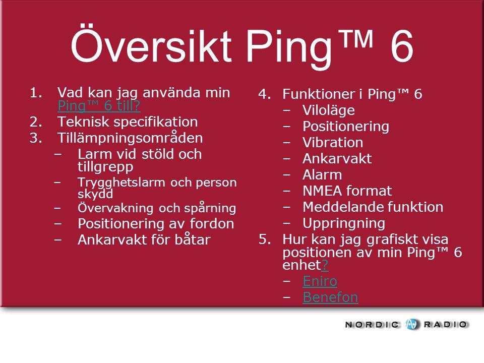 Översikt Ping™ 6 1.Vad kan jag använda min Ping™ 6 till.