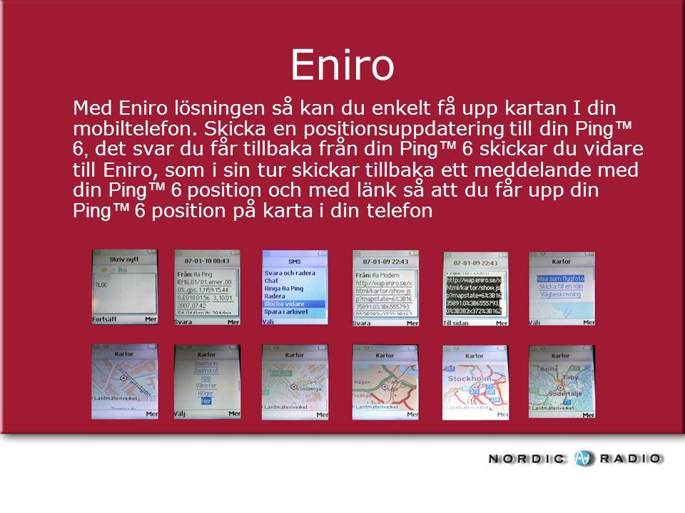 Eniro Med Eniro lösningen så kan du enkelt få upp kartan I din mobiltelefon.