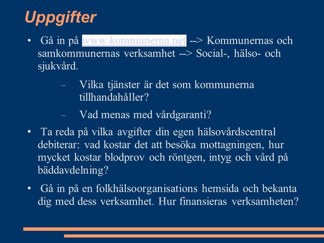 Uppgifter Gå in på www.kommunerna.net --> Kommunernas och samkommunernas verksamhet --> Social-, hälso- och sjukvård.www.kommunerna.net  Vilka tjänster är det som kommunerna tillhandahåller.