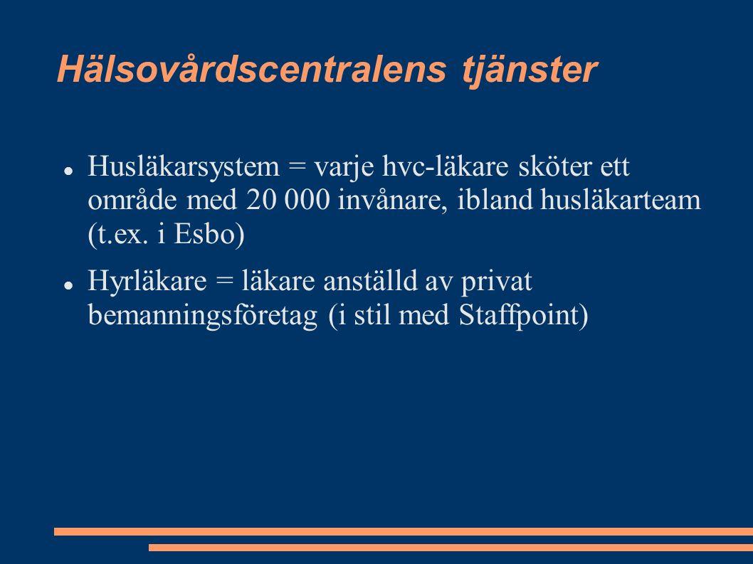 Hälsovårdscentralens tjänster Husläkarsystem = varje hvc-läkare sköter ett område med 20 000 invånare, ibland husläkarteam (t.ex.