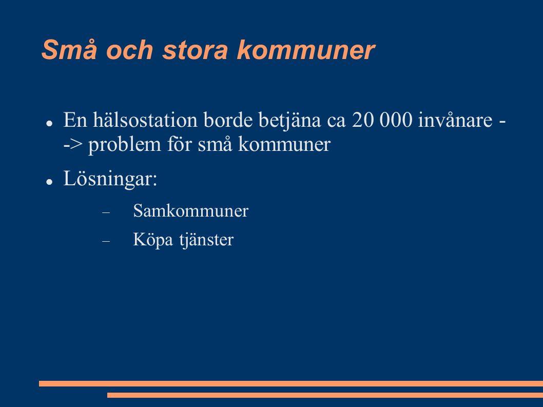 Små och stora kommuner En hälsostation borde betjäna ca 20 000 invånare - -> problem för små kommuner Lösningar:  Samkommuner  Köpa tjänster