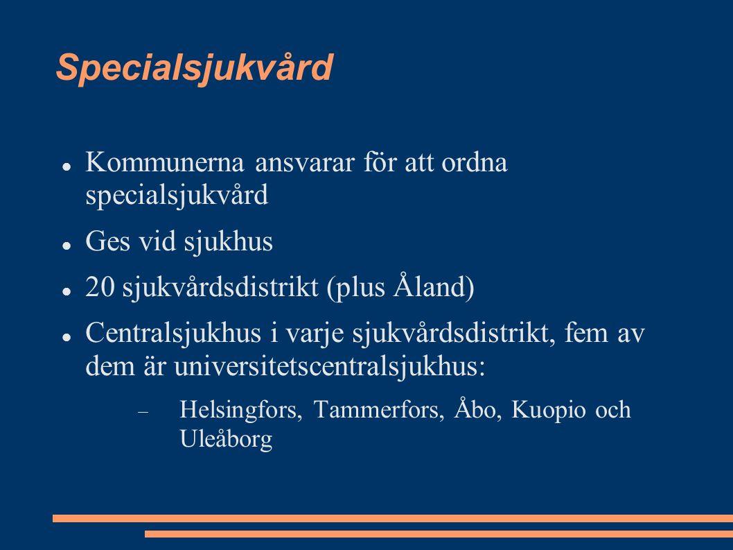 Specialsjukvård Kommunerna ansvarar för att ordna specialsjukvård Ges vid sjukhus 20 sjukvårdsdistrikt (plus Åland) Centralsjukhus i varje sjukvårdsdistrikt, fem av dem är universitetscentralsjukhus:  Helsingfors, Tammerfors, Åbo, Kuopio och Uleåborg