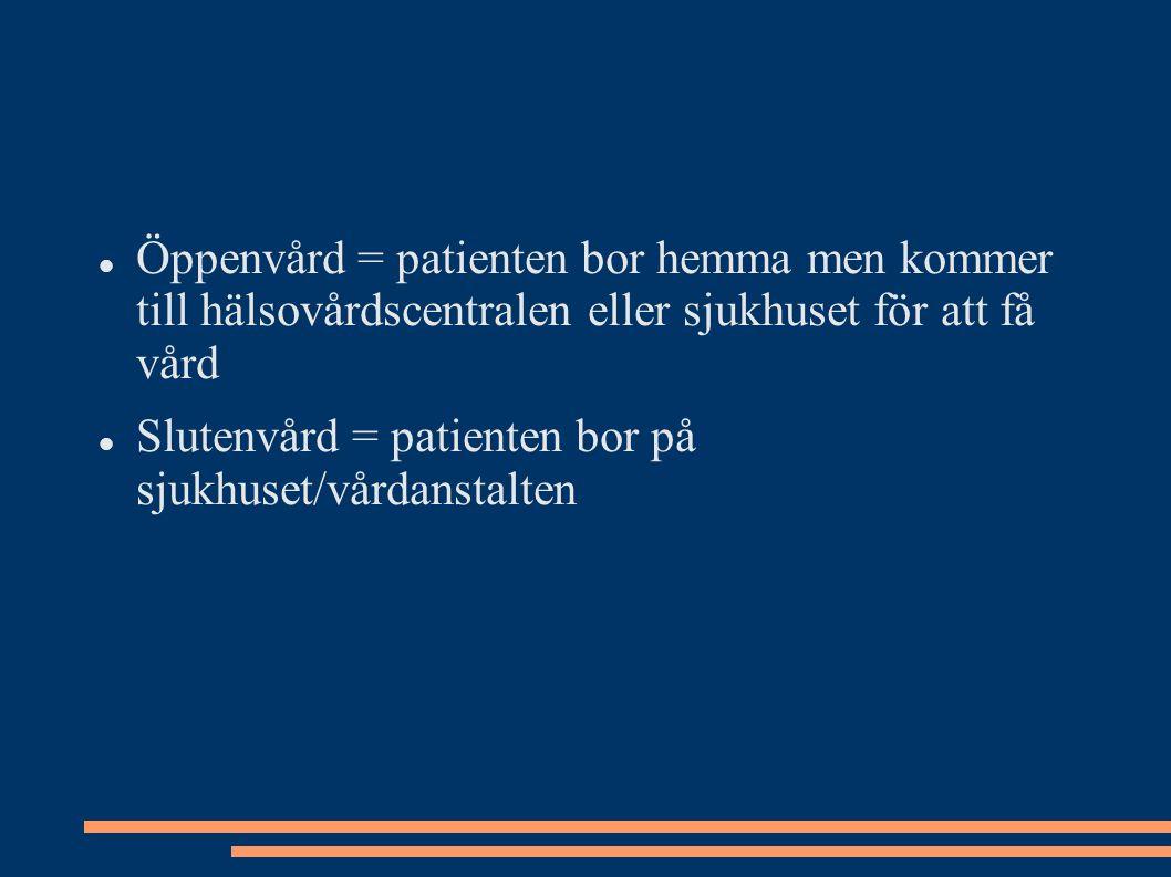 Öppenvård = patienten bor hemma men kommer till hälsovårdscentralen eller sjukhuset för att få vård Slutenvård = patienten bor på sjukhuset/vårdanstalten
