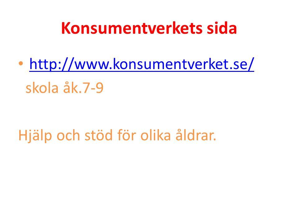 Konsumentverkets sida http://www.konsumentverket.se/ skola åk.7-9 Hjälp och stöd för olika åldrar.