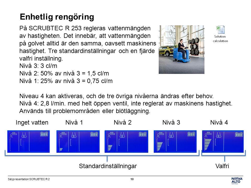 På SCRUBTEC R 253 regleras vattenmängden av hastigheten.