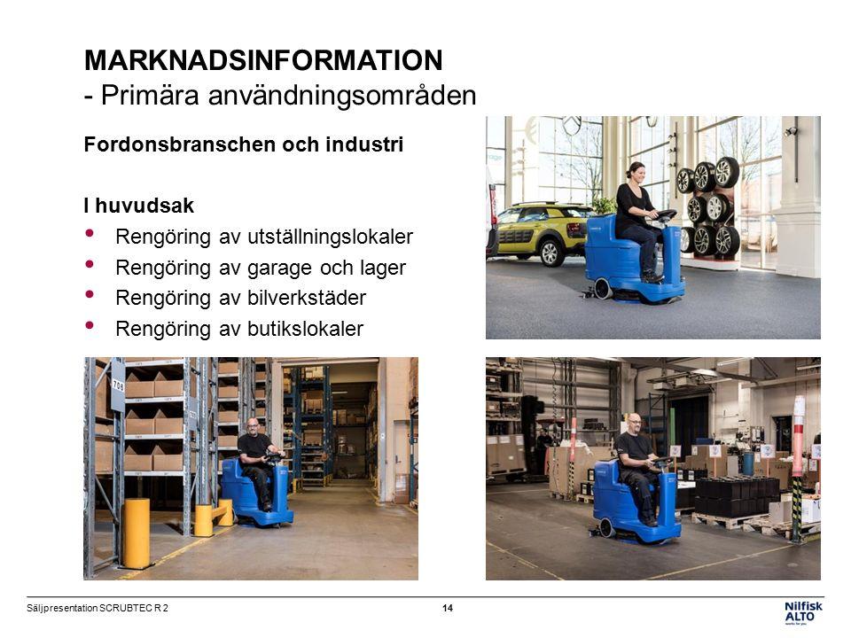 MARKNADSINFORMATION - Primära användningsområden Fordonsbranschen och industri I huvudsak Rengöring av utställningslokaler Rengöring av garage och lager Rengöring av bilverkstäder Rengöring av butikslokaler 14Säljpresentation SCRUBTEC R 2