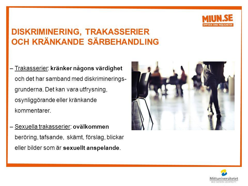 –Trakasserier: kränker någons värdighet och det har samband med diskriminerings- grunderna.