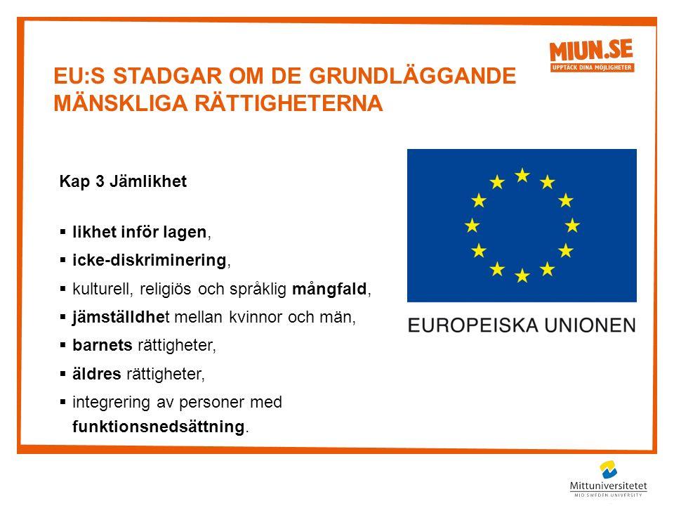 EU:S STADGAR OM DE GRUNDLÄGGANDE MÄNSKLIGA RÄTTIGHETERNA Kap 3 Jämlikhet  likhet inför lagen,  icke-diskriminering,  kulturell, religiös och språklig mångfald,  jämställdhet mellan kvinnor och män,  barnets rättigheter,  äldres rättigheter,  integrering av personer med funktionsnedsättning.