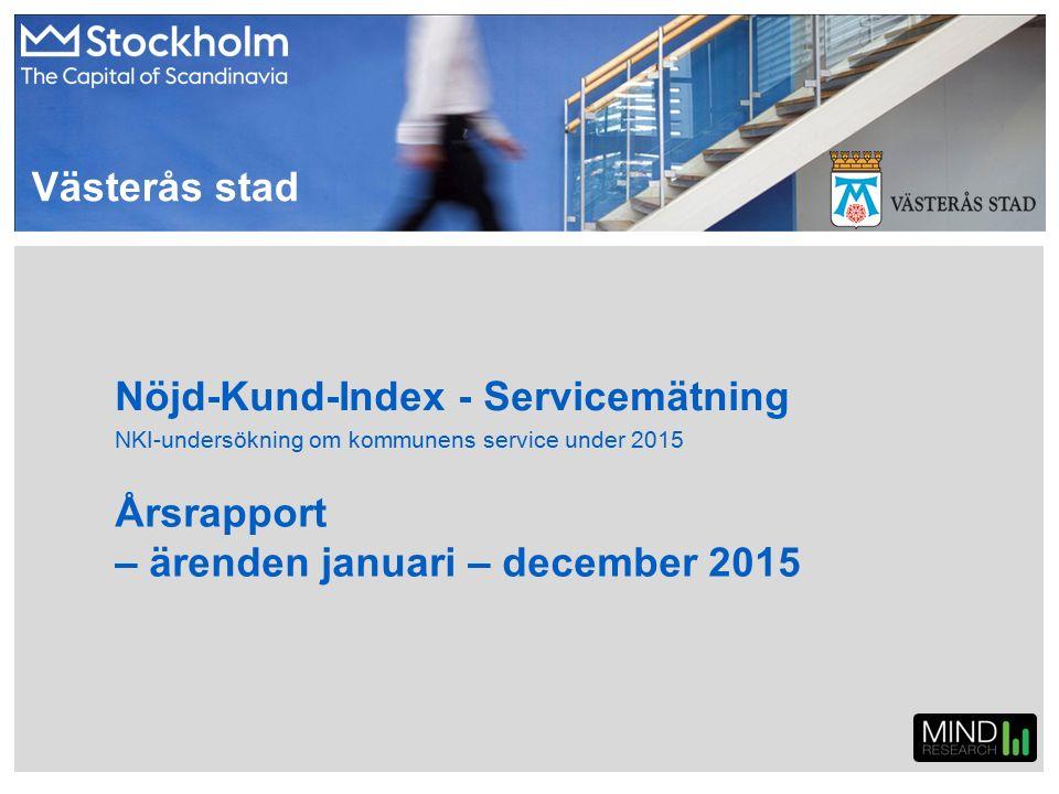 Västerås stad – jan-dec 2015 NKI – per månad och totalt (Index) Hela kommunen Alla målgrupper Antal svar233894655089272870504760645 Inga jämförande siffror har erhållits från 2014 års mätning.
