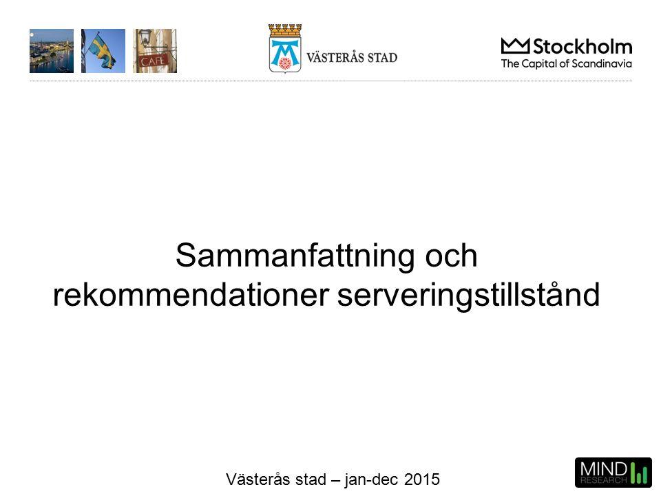 Västerås stad – jan-dec 2015 Sammanfattning och rekommendationer serveringstillstånd