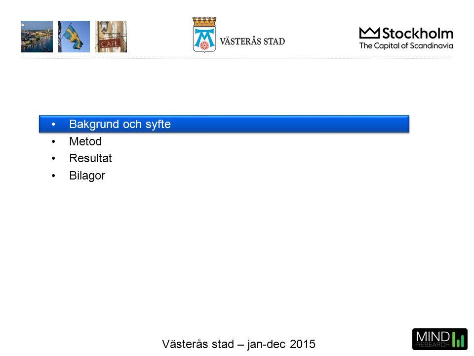 Västerås stad – jan-dec 2015 Betygsindex per servicefaktor Hela kommunen Alla målgrupper Inga jämförande siffror har erhållits från 2014 års mätning.