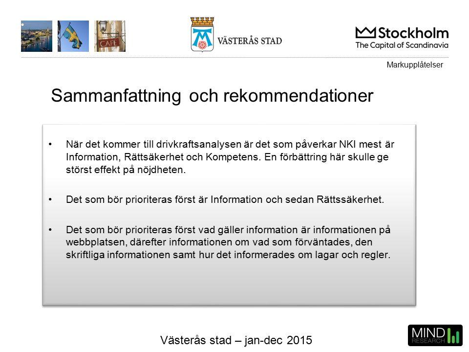 Västerås stad – jan-dec 2015 När det kommer till drivkraftsanalysen är det som påverkar NKI mest är Information, Rättsäkerhet och Kompetens.