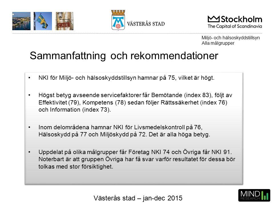Västerås stad – jan-dec 2015 NKI för Miljö- och hälsoskyddstillsyn hamnar på 75, vilket är högt.