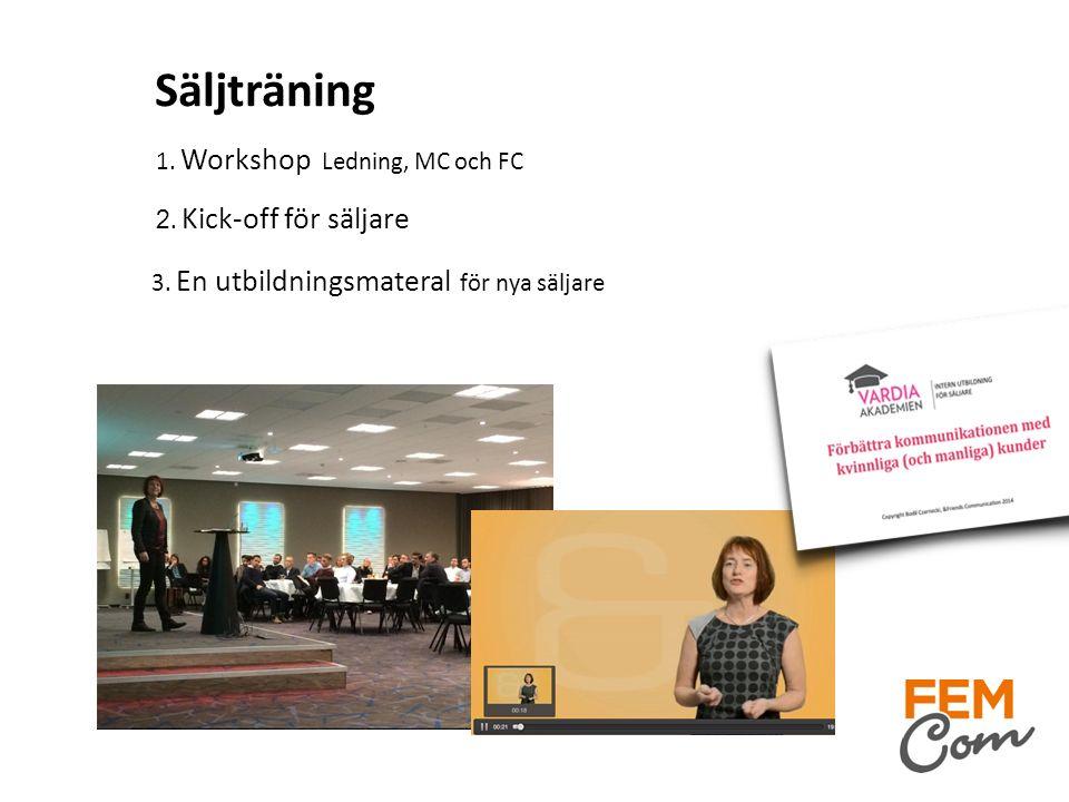 Säljträning 1. Workshop Ledning, MC och FC 2. Kick-off för säljare 3. En utbildningsmateral för nya säljare