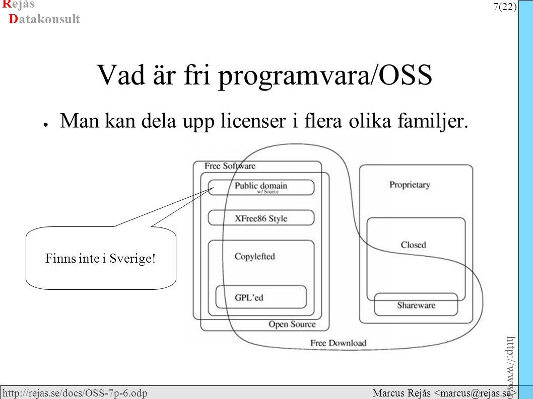 Rejås 7 (22) http://www.rejas.se – Fri programvara är enkelt http://rejas.se/docs/OSS-7p-6.odp Datakonsult Marcus Rejås Vad är fri programvara/OSS ● Man kan dela upp licenser i flera olika familjer.