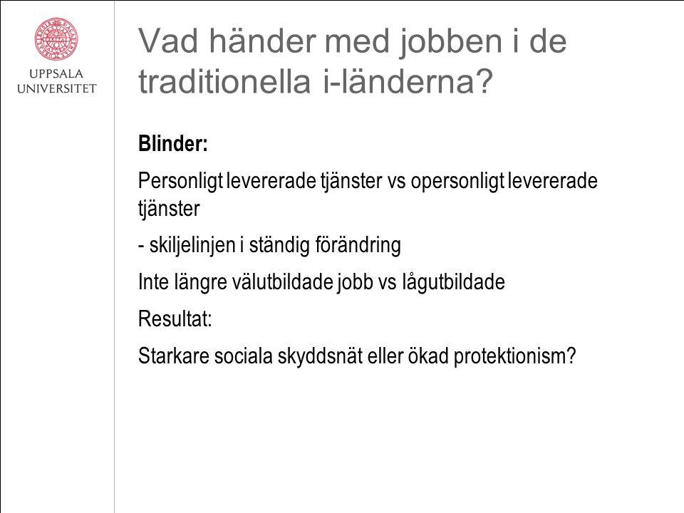 Vad händer med jobben i de traditionella i-länderna? Blinder: Personligt levererade tjänster vs opersonligt levererade tjänster - skiljelinjen i ständ