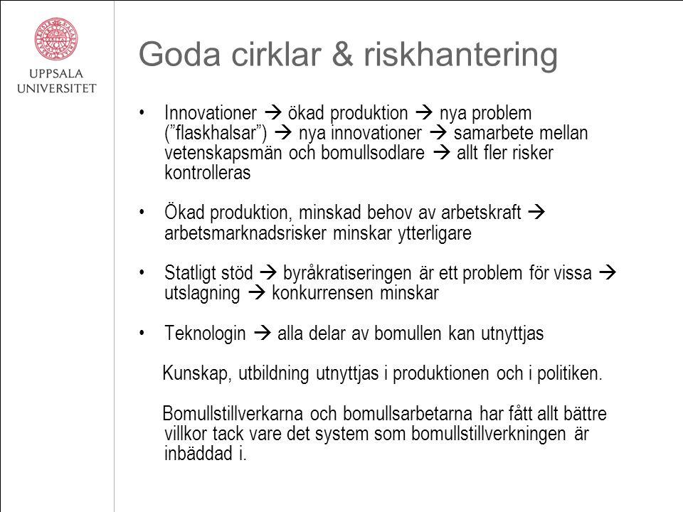 """Goda cirklar & riskhantering Innovationer  ökad produktion  nya problem (""""flaskhalsar"""")  nya innovationer  samarbete mellan vetenskapsmän och bomu"""