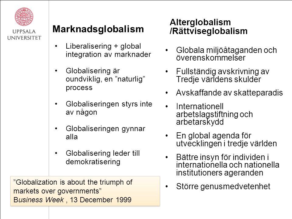 """Marknadsglobalism Liberalisering + global integration av marknader Globalisering är oundviklig, en """"naturlig"""" process Globaliseringen styrs inte av nå"""