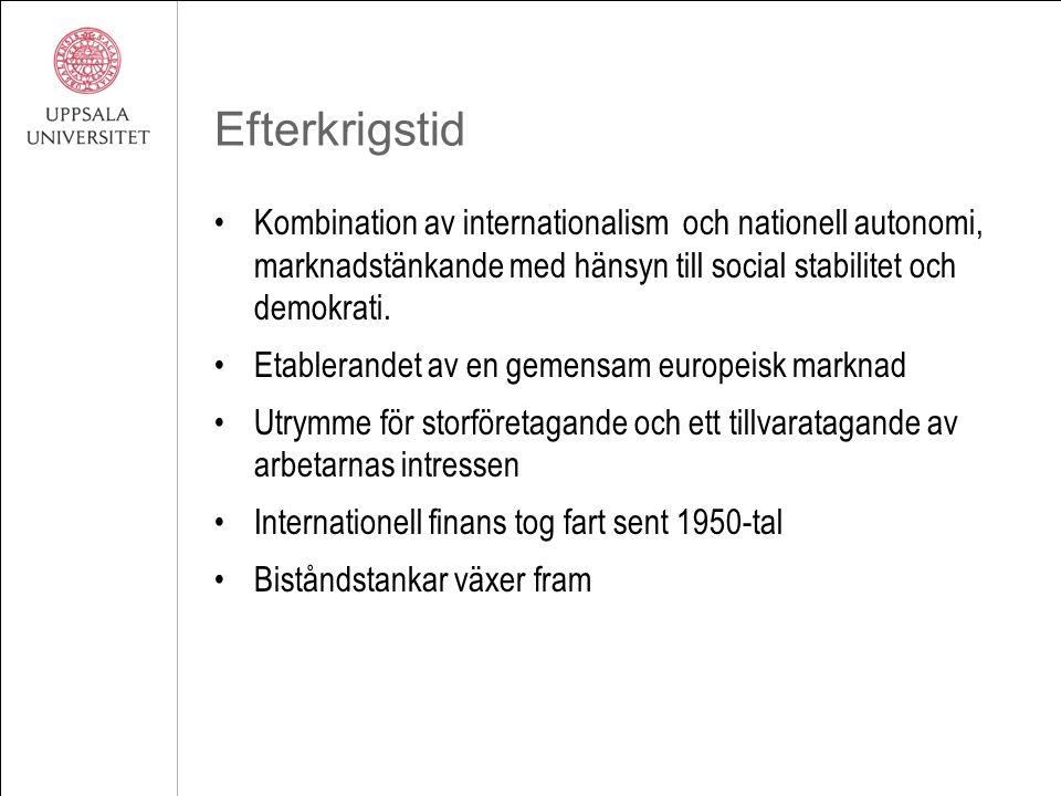 Efterkrigstid Kombination av internationalism och nationell autonomi, marknadstänkande med hänsyn till social stabilitet och demokrati. Etablerandet a