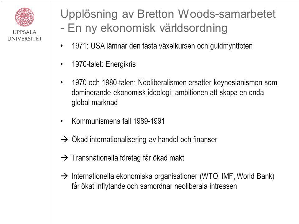 Upplösning av Bretton Woods-samarbetet - En ny ekonomisk världsordning 1971: USA lämnar den fasta växelkursen och guldmyntfoten 1970-talet: Energikris