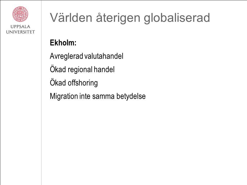 Världen återigen globaliserad Ekholm: Avreglerad valutahandel Ökad regional handel Ökad offshoring Migration inte samma betydelse