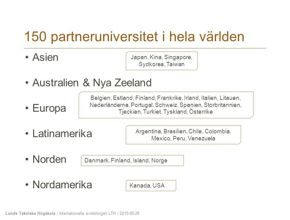 Lunds Tekniska Högskola | Internationella avdelningen LTH | 2015-08-28 150 partneruniversitet i hela världen Asien Australien & Nya Zeeland Europa Lat