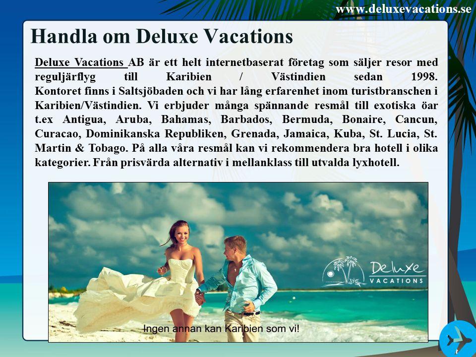 Handla om Deluxe Vacations Deluxe Vacations Deluxe Vacations AB är ett helt internetbaserat företag som säljer resor med reguljärflyg till Karibien /