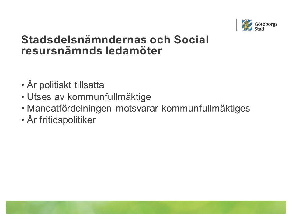Stadsdelsnämndernas och Social resursnämnds ledamöter Är politiskt tillsatta Utses av kommunfullmäktige Mandatfördelningen motsvarar kommunfullmäktiges Är fritidspolitiker