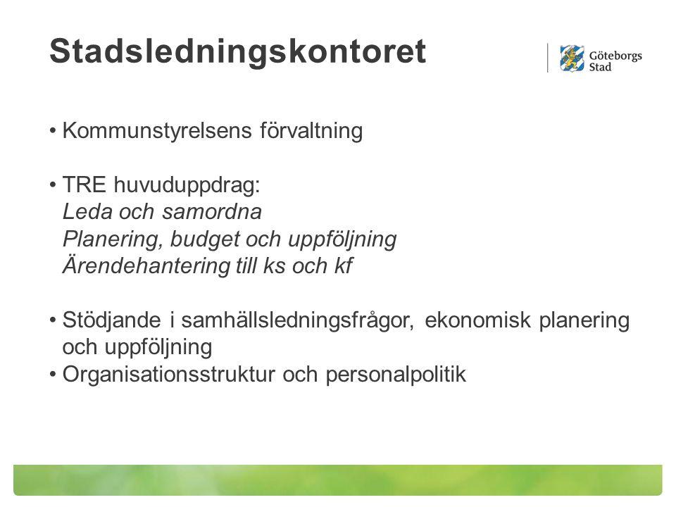 Stadsledningskontoret Kommunstyrelsens förvaltning TRE huvuduppdrag: Leda och samordna Planering, budget och uppföljning Ärendehantering till ks och kf Stödjande i samhällsledningsfrågor, ekonomisk planering och uppföljning Organisationsstruktur och personalpolitik